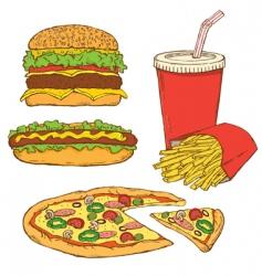 set of fast food v vector image