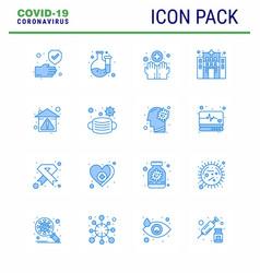 16 blue viral virus corona icon pack vector image