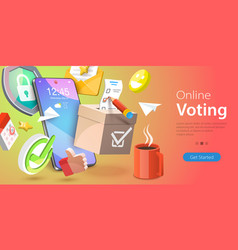 3d conceptual online voting vector image