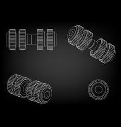 3d model of a cogwheel on a black vector image