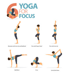 6 yoga poses for workout in yoga for focus vector