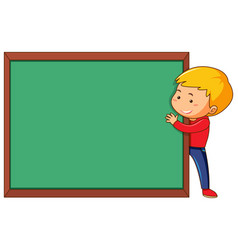 A man and chalkboard template vector