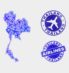 Airplane collage thailand and grunge vector