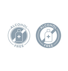 Alcohol free icon for cosmetic product body and vector