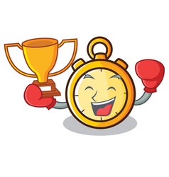 Boxing winner chronometer character cartoon style vector