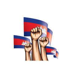 Cambodia flag and hand on white background vector