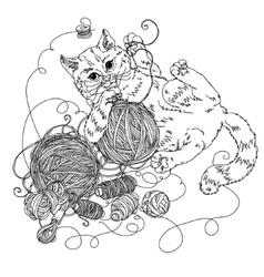 Cat for needlework vector