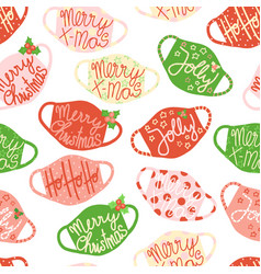 christmas face masks seamless background vector image