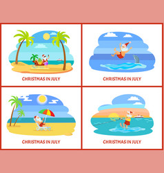 Christmas in july celebration of holiday in summer vector