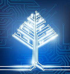 circuit board in the form of a tree vector image