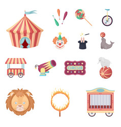 Circus and attributes cartoon icons in set vector