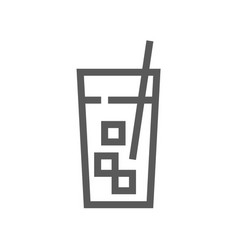 Cocktail drink and beverage line icon vector
