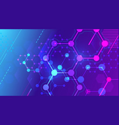 Color molecular structure hexagonal molecule grid vector