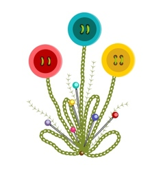 Colorful embroidered buttons flowers vector