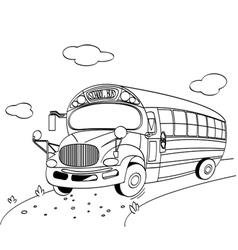 Coloring page a school bus vector