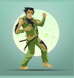 Crazy man turning into werewolf under full moon vector