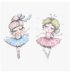 Cute fashionable beautiful ballerina girls in vector