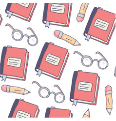 cute seamless pattern with doodle school supplies vector image