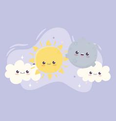 cute sun moon and clouds kawaii cartoon character vector image