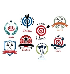 Darts sporting emblems symbols and icons vector image