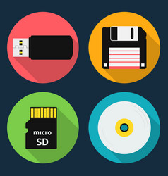 Data storage device icons vector