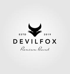 devil fox logo vintage retro icon vector image
