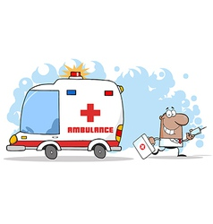 Doctor Running With A Syringe And Bag vector image