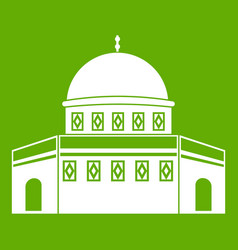 Dome of the rock on the temple mount icon green vector