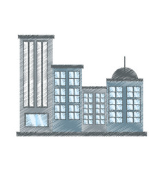 Drawing building modern urban vector