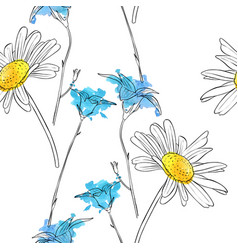 drawing flower daisy vector image