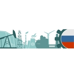 Energy and Power icons setRussia flag vector