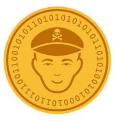 Evil soldier face digital coin vector