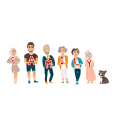 family members holding letters of word happy vector image