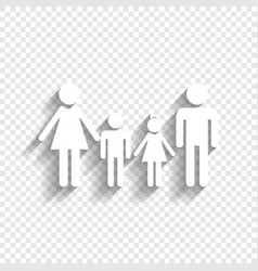Family sign white icon with soft shadow vector