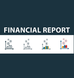 financial report icon set four elements in vector image