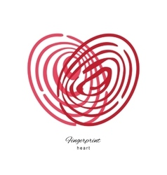 Fingerprint red heart isolated on white background vector