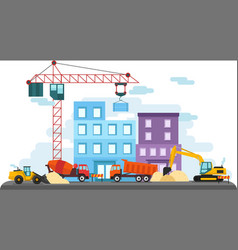 flat colorful construction site vector image