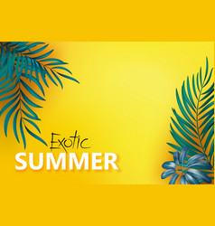 Flat-lay blue green palm branches over yellow vector