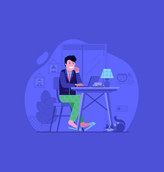 Freelancer work from home flat design concept vector