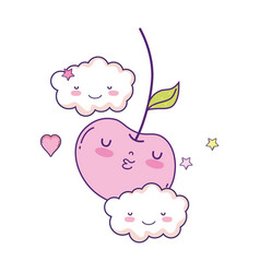 Fresh cherry with clouds kawaii character vector
