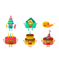funny birthday party symbols cartoon characters vector image