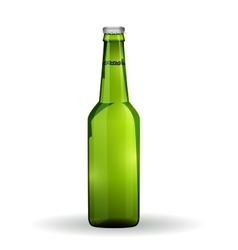 Glass beer green bottle on white background vector