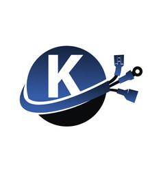 Global electricity letter k vector