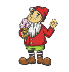 gnome with ice cream color sketch engraving vector image