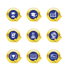 Gold circle and check mark with education icons vector image