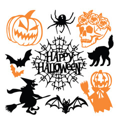 Gothic halloween paper cut silhouette set vector