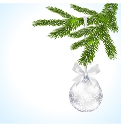 Green tree branch with silver ball and ribbon on a vector image