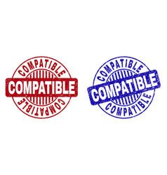 Grunge compatible textured round stamp seals vector