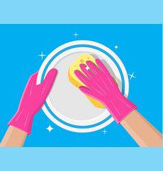 hand in gloves with sponge wash plate vector image
