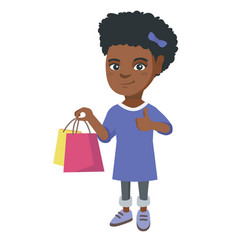 happy african-american girl holding shopping bags vector image